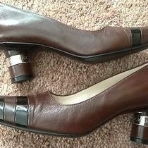Coco Chanel Brown Black Leather Pumps Silver Logo Heels 36 1/2 Us 6.5 Photo