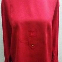Coco Chanel Cc Logo Front 100% Silk Chiffon Blouse Gold Perfume Bottle Buttons L Photo