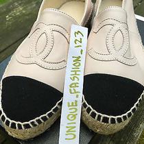 Coco Chanel Espadrilles Shoes - Eu 37 Uk 4 Us 6.5 Light Pink Black 2014 Leather  Photo