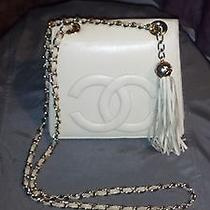 Coco Chanel Leather Shoulder-Bag White Wth Gold Accents and White Leather Tassl Photo