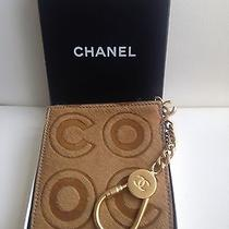 Coco Chanel Tan Leather Fur Key Holder Wallet Coin Holder Case Authentic New Photo