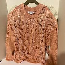 Coco  Jameson Open Shoulder Blush Sweater Large Stunning Open Weave Detail Photo