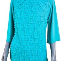 Cocomo Aqua Blue Tiered Ruffle 3/4 Sleeve Blouse Top Designer Womens Clothing L Photo