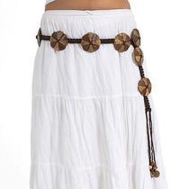 Coconut Shell Wood Belt Boho/hippie/gypsy/bohemian/natural - Flower Pattern Photo