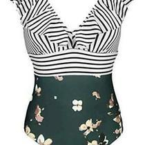Cocoship Women's One Piece Bather Deep v Neckline Bikini Bloom Stripe Size 4 M Photo