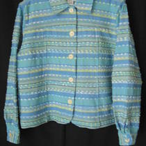 Coldwater Creek  Blue Aqua Green Striped Jacket  Sz Pl Photo