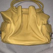 Coldwater Creek Large Yellow Leather Shoulder Hobo Tote Satchel Purse Bag Photo