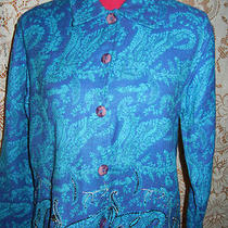 Coldwater Creek Royal & Aqua Paisley Sequin Jackettop Sz M  Photo