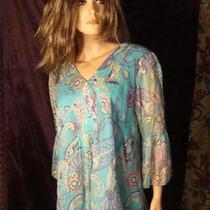 Coldwater Creek Sz Medium Aqua Gold Purple Summer Top / Coverup Photo