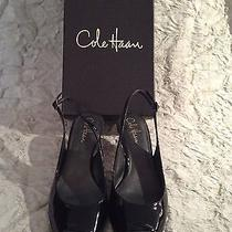 Cole Haan Air Claire Ot Sling Black Patent Heels Shoes 8b Nib Photo