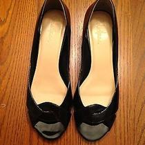 Cole Haan Air Darleen Ot Wedge Black Patent Leather Sz 7.5aa Photo