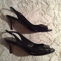 Cole Haan Air Talia Ot Sling 60 Black Patent Heels Shoes 8b Photo