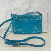 Cole Haan Ali Jitney Mini Crossbody Bag Purse Turquoise Blue Patent Leather Photo
