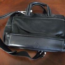 Cole Haan Black Contrast Stitching Leather Laptop Attache 289 Euc Photo