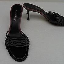 Cole Haan Black/pink Trim Leather Slide heels.size 6 B. Photo