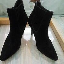 Cole Haan Black Suede Bootie Heels Size 8b Photo