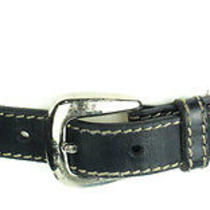 Cole Haan Black With White Stitching Belt & Silver Toned Belt Buckle Size Medium Photo