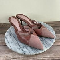Cole Haan Blush Pink Leather Pointed Toe Kitten Heeled Mules Womens Size 9.5 Photo