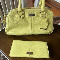 Cole Haan Bright Yellow Leather  Satchel Purse & Wallet Handbag Lot Set Photo