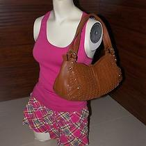 Cole Haan Brown Woven Leather Satchel Tote Hobo Shoulder Bag Purse Photo
