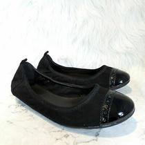 Cole Haan Cap Toe Black Suede Ballet Ballerina Flats Women's Size 7.5  Photo