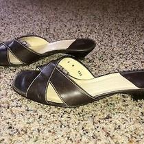 Cole Haan City Brown Leather Open Toe Kitten Heel Sandals Size 8 B Italy Photo