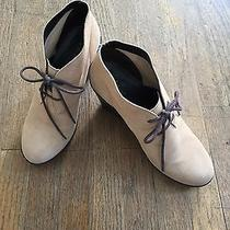 Cole Haan Cream Suede Lace Up Platform Wedge Booties Size 8 B Photo