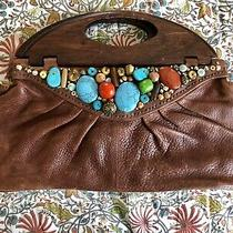 Cole Haan G Series Vintage Brown Leather Wood Clutch Purse Bag Turquoise Stones Photo