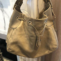 Cole Haan Gold Pebbled Leather Large Shoulder Hobo Carryall Purse Bag Photo