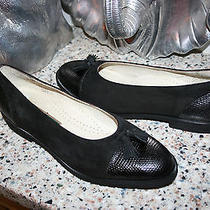 Cole Haan Italy Black Leather Flats Tassels Suede/leather Croc Size 8.5 B Photo