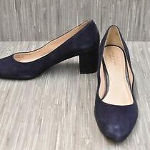 Cole Haan Justine W06090 Almond Toe Suede Pumps Women's Size 9b Navy Photo
