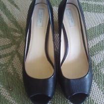 Cole Haan Lacey Open Toe Pump Chunky Heel Black Leather Womens Sz 8 1/2 B Nwob Photo