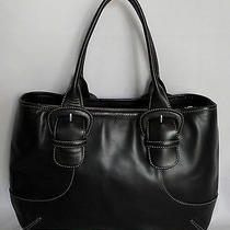 Cole Haan Large Black Leather Computer Tote Shoulder Bag Photo