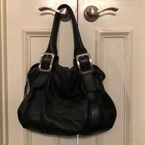 Cole Haan Large Black Pebbled Soft Leather Satchel Tote Handbag Silver Hardware Photo