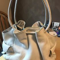 Cole Haan Large Ivory Soft  Leather Tote Shoulder Bag Weekender W/ Green Edging Photo