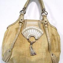 Cole Haan Large Straw Ring Tassel Hobo Purse Natural Gold Photo