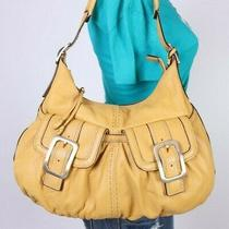Cole Haan Large Yellow  Leather Shoulder Hobo Tote Satchel Purse Bag Photo