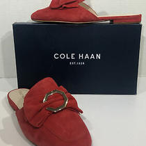 Cole Haan Leela Womens Size 7.5 Medium Red Suede Bow Mules Shoes Zf-488 Photo