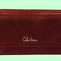 Cole Haan Marabelle Lacquer Red Leather Slim Continental Wallet Msrp 98.00 Photo
