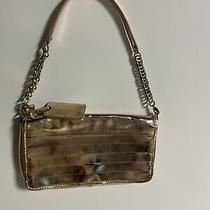 Cole Haan Maria Sharapova Pink Metallic Clutch Purse Handbag Silver Chain Snap Photo