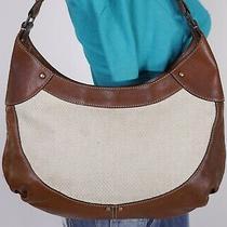 Cole Haan Medium Brown Beige Leather Canvas Shoulder Hobo Tote Satchel Purse Bag Photo