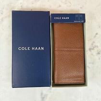 Cole Haan Men's Genuine Leather Bi-Fold Breast Pocket Wallet Nwb 88 Cognac Photo