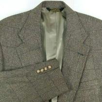 Cole Haan Mens Sport Coat Size 46 Regular Brown Black Windowpane Tweed Pattern Photo