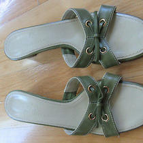 Cole Haan Mirna Slides Sandals Green Leather Slip on Heels Shoes Size 6.5 M Photo