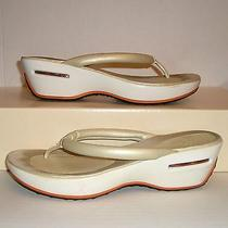 Cole Haan N-Air Women's Pearl Leather Wedge Dress Thongs Sandals Slides Size 8 B Photo