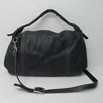 Cole Haan Navy Blue Genuine Leather Tote Hobo Handbag Shoulder Bag Photo