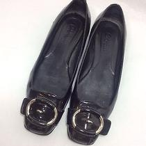 Cole Haan Nike Air 6.5 M Black Patent Leather Buckle Ballet Flat Loafer Slip On Photo