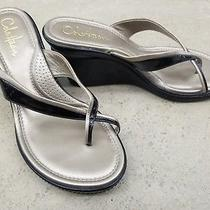 Cole Haan Nikeair Black Patent Leather Thong Wedge Sandals Women's Size 8 B Photo