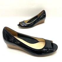 Cole Haan Nikeair Black Patent Leather Wedge Heels Open Toe Size 9.5 B Photo