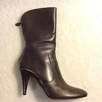 Cole Haan Nydia Dark Chocolate Short Calf Leather Zip Boot Sz 8b Photo